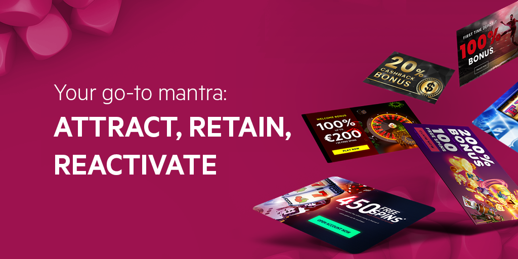Abstract image with text Attract, retain and reactivate