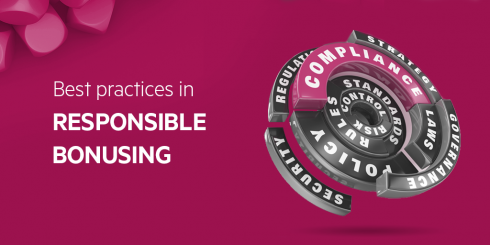 Abstract image with text Best practices in responsible gambling