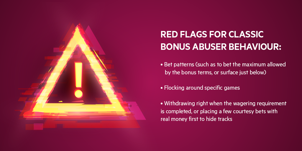 A list with red flags for classic bonus abuser behaviour: bet patterns, flocking around specific games, suspicious withdrawals
