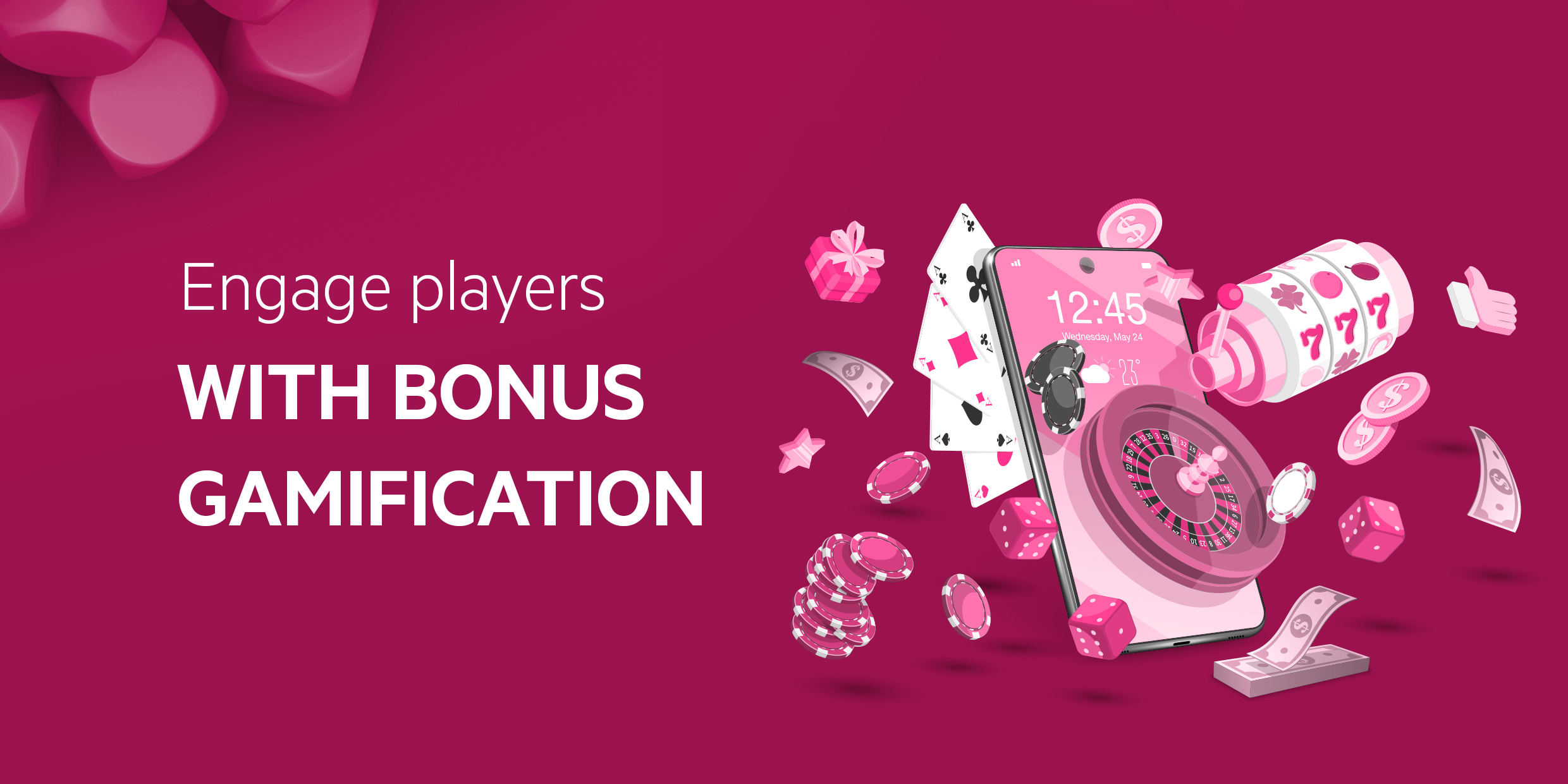 Abstract image with text Engage players with bonus gamification